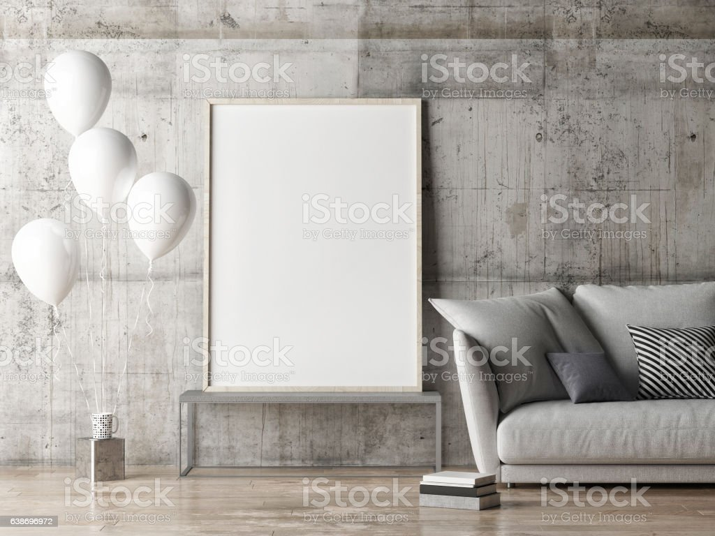 mock up poster, living room with balloons stock photo