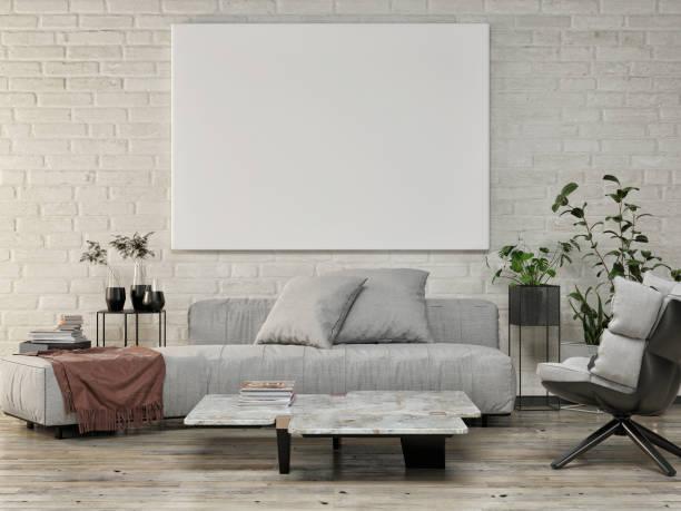 Poster aufschlagen, Wohnzimmer mit weißem Backsteinhintergrund, Blumendekoration – Foto