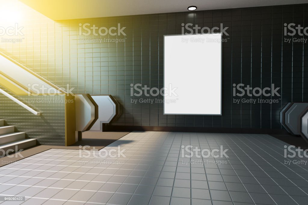 Mock up poster media template ads display in Subway station escalator...
