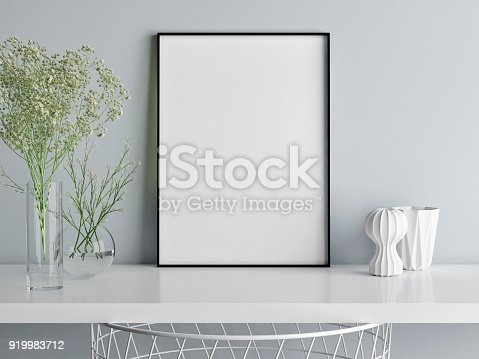 istock Mock up poster minimalism composition, you art work here 919983712