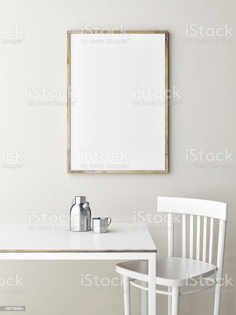 Mock up poster, minimalism design stock photo