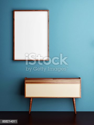 istock mock up poster on blue wall, 3d illustration 533214011