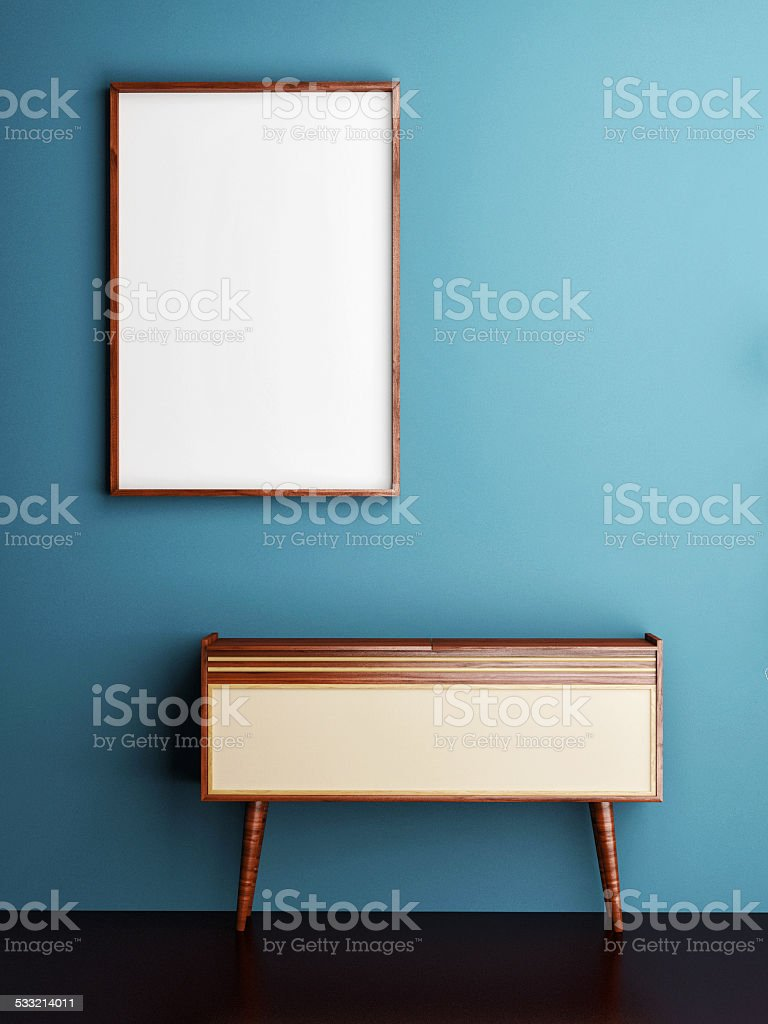 mock up poster on blue wall, 3d illustration stock photo