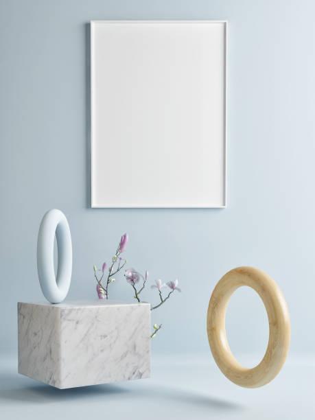 Mock-up Poster an blauen Wand mit abstrakte geometrische Komposition – Foto