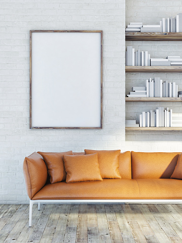 istock Mock up poster on brick wall, leather sofa, 3d illustration 476094176