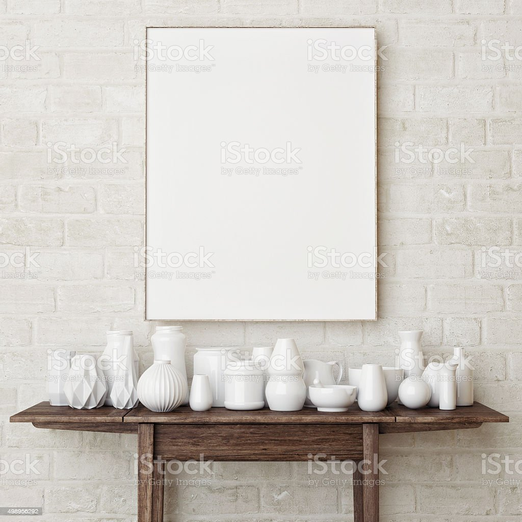 Mock up poster on brick wall stock photo