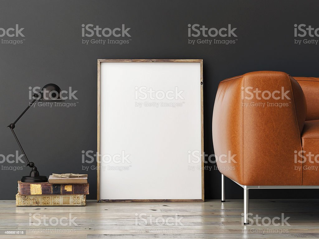 mock up poster on gray wall, 3d illustration stock photo