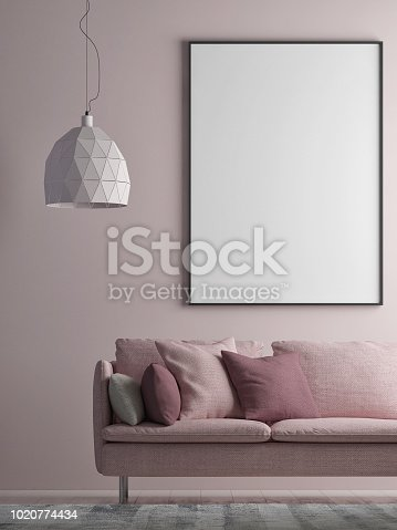 923497490istockphoto Mock up poster on minimalism wall, Hipster background 1020774434