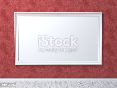 518847146istockphoto Mock up poster on red wall 3D 980420032