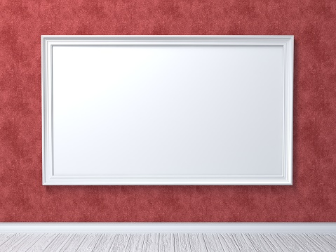 518847146 istock photo Mock up poster on red wall 3D 980420032