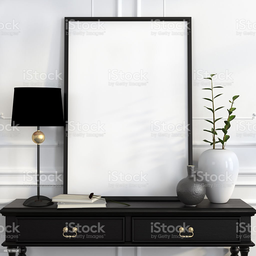 Mock up poster on the black desk with gold decoration stock photo