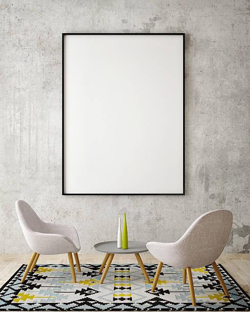 mock up  poster on the wall of hipster living room - karten wandkunst stock-fotos und bilder
