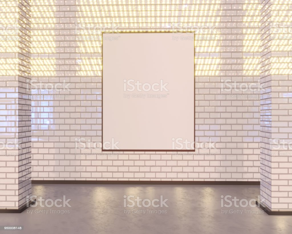 mock up poster on wall, 3d illustration station, store, street,...