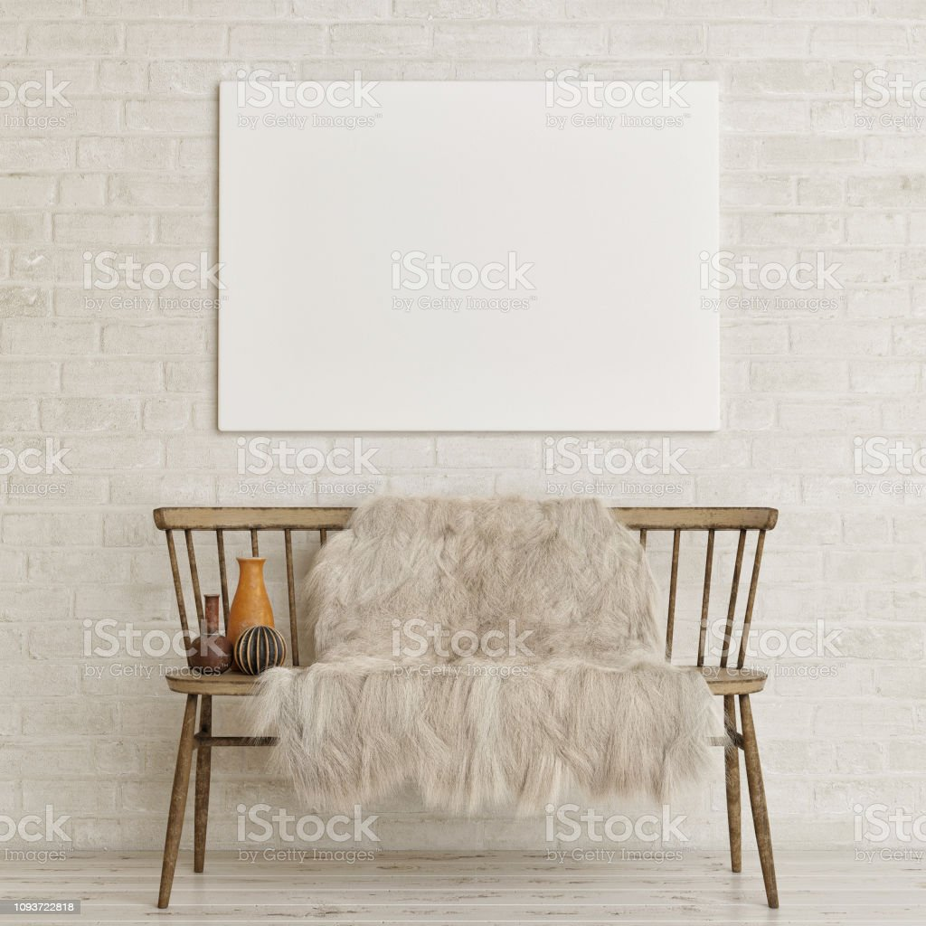 Mock up poster on white brick wall with old bench and decoration, 3d...