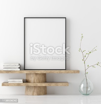 1027116110 istock photo Mock up poster on wooden bench with branch in vase 1138536262