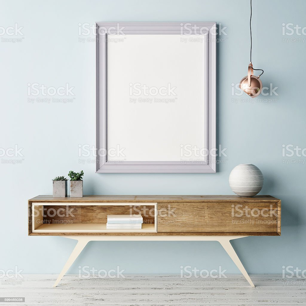 Mock up poster, pastel color interior stock photo