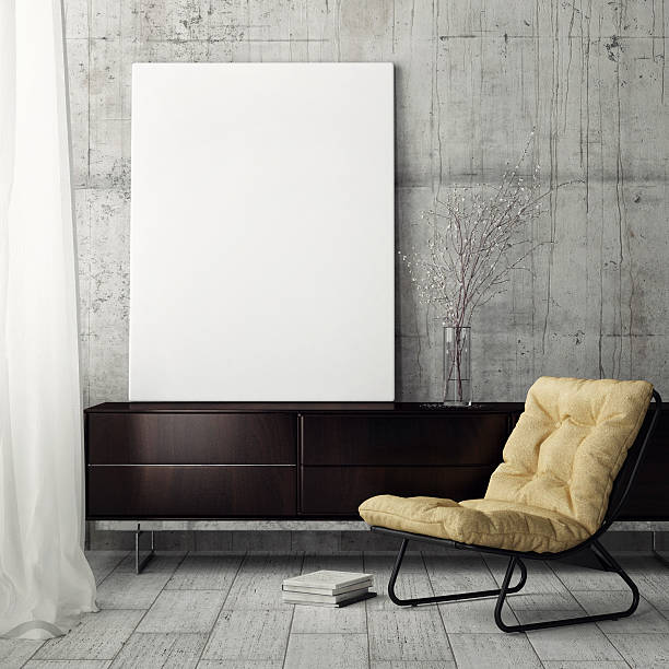 mock up poster, retiring room - bild wandtreppe stock-fotos und bilder