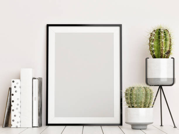 mock-up-poster, skandinavischen innenraum-konzept - wandmuster stock-fotos und bilder