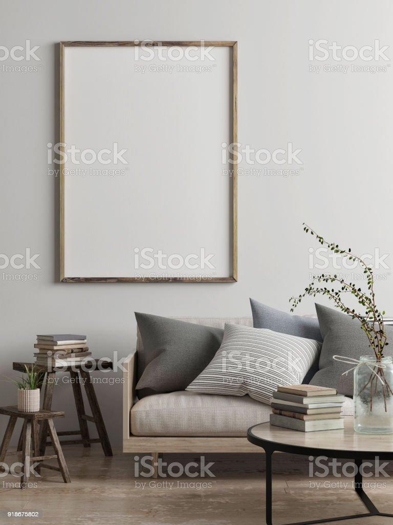 Mock up poster, Scandinavian living room concept design royalty-free stock photo
