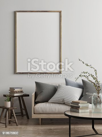 istock Mock up poster, Scandinavian living room concept design 918675802