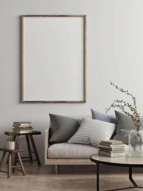 mock-se pôster, conceito de design escandinavo de sala de estar - escandinavo - fotografias e filmes do acervo