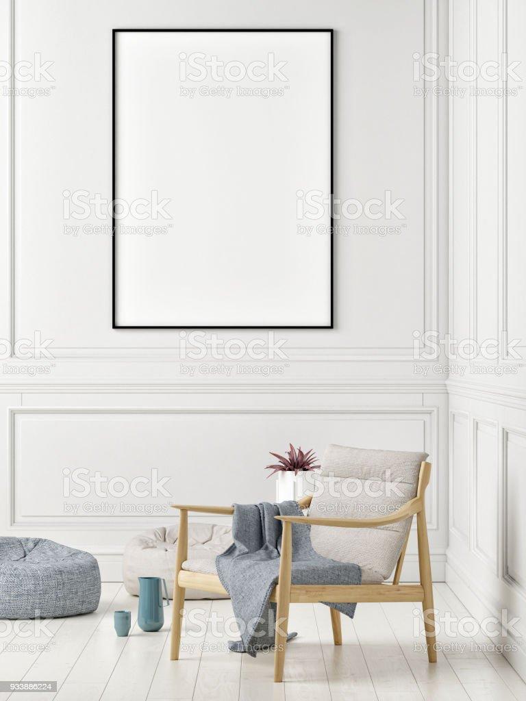 Mock-up-Poster, skandinavisches Wohnzimmer mit Sessel – Foto