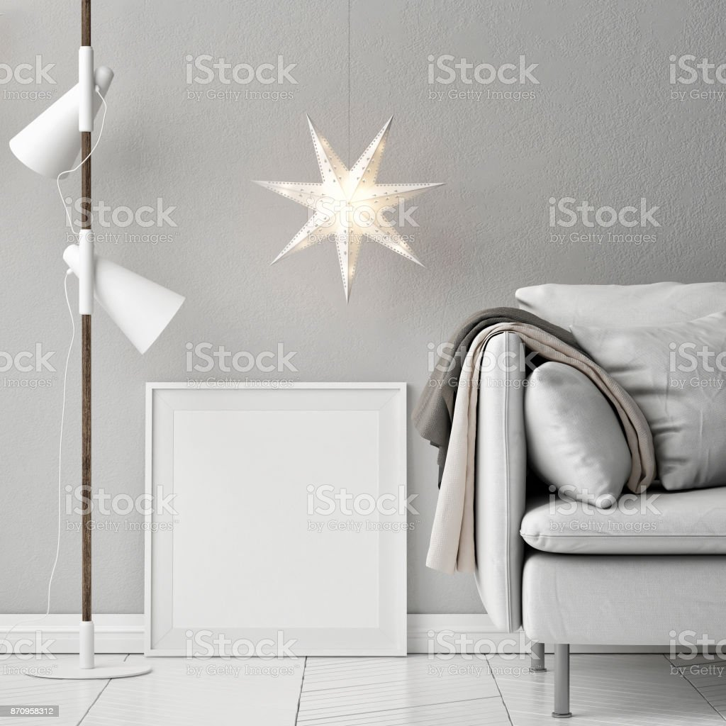 Mock-up Poster, Sofa, Lampen und Dekor Zusammensetzung – Foto