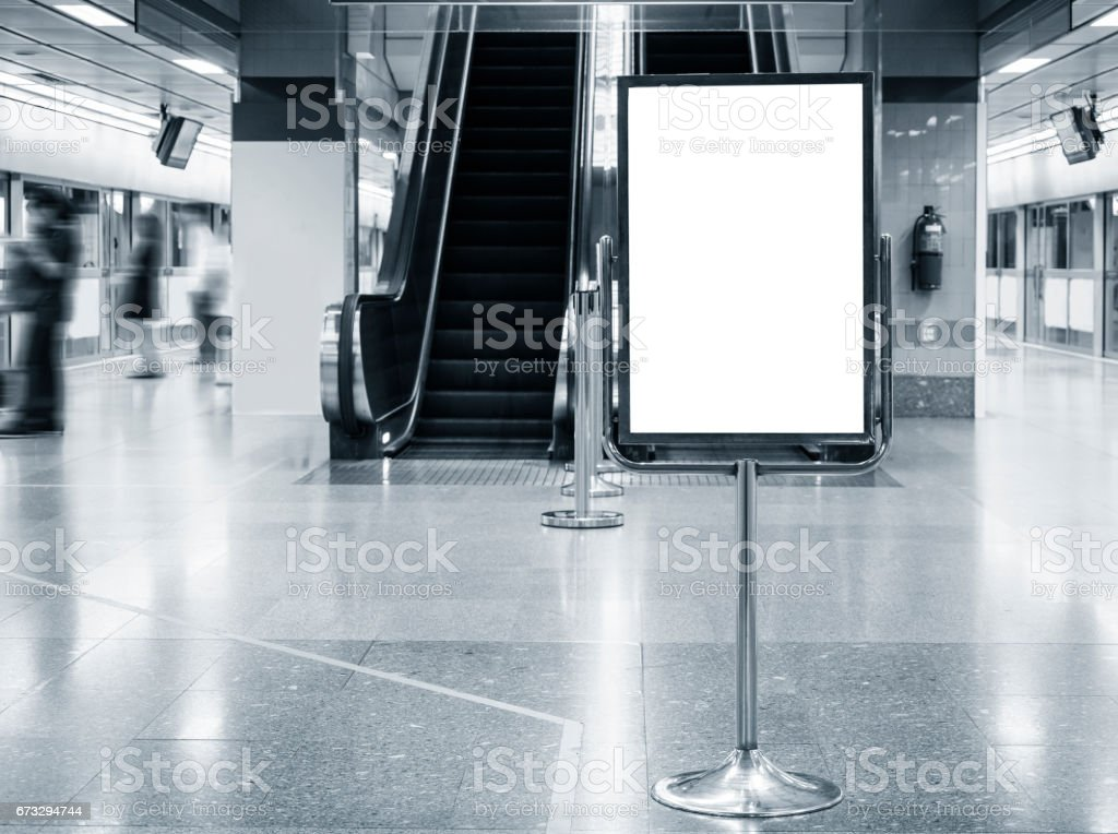 Mock up Poster stand Blank Sign in Public Building Subway royalty-free stock photo