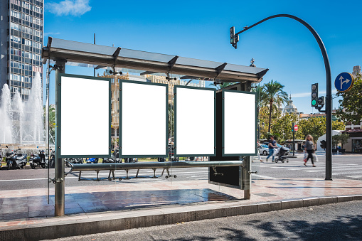 Mock up Poster template at Bus station Banners Advertising Media outdoor