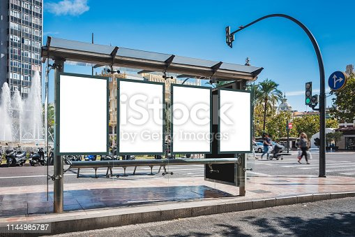 istock Mock up Poster template at Bus station Banners Advertising Media outdoor 1144985787