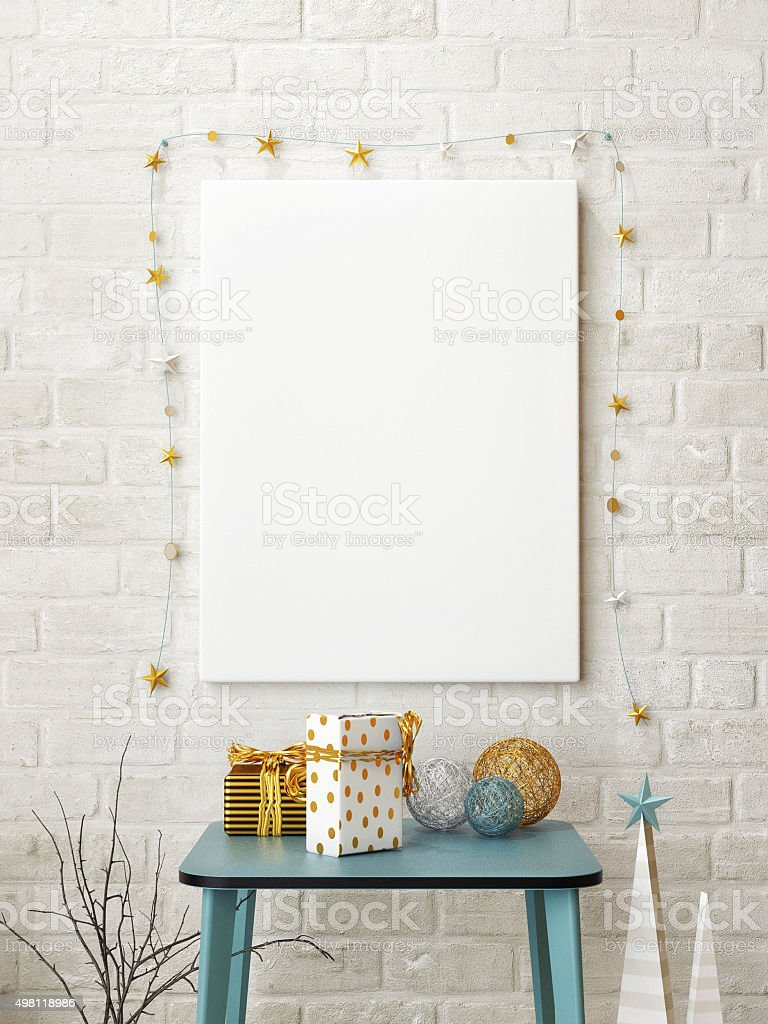 Mock up poster with abstract christmas time stock photo