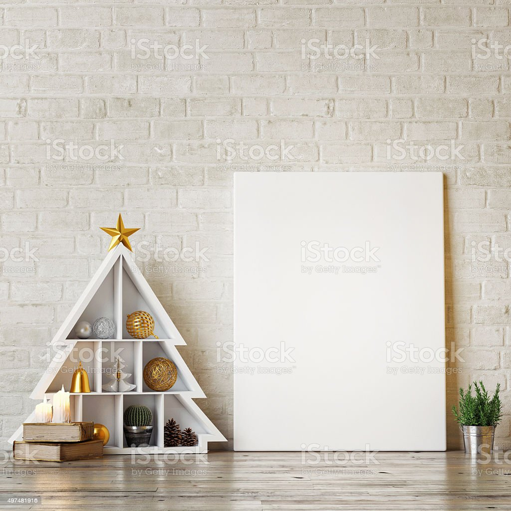 Mock up poster with abstract christmas trees stock photo