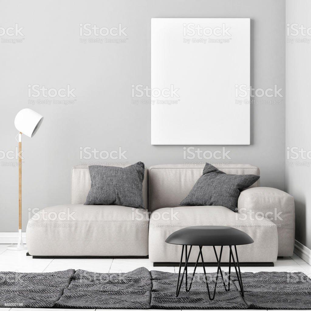 Mock-up Plakat mit einem bequemen sofa – Foto