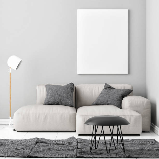 mock-up plakat mit einem bequemen sofa - verwandlungskissen stock-fotos und bilder