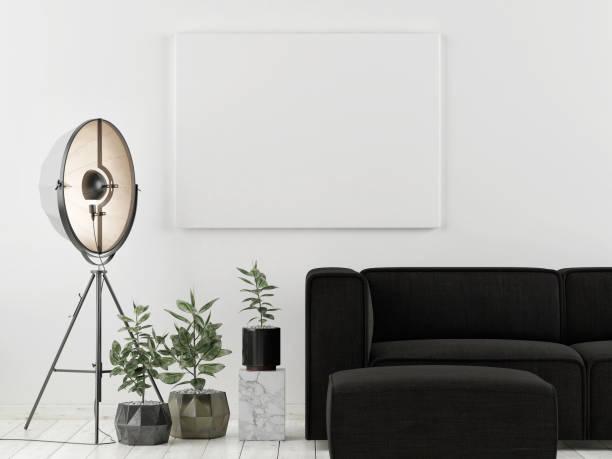 Mock-up-Plakat mit dunklen Sofa, skandinavisches Design – Foto