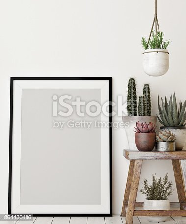 istock Mock up poster with decoration plant 864430486