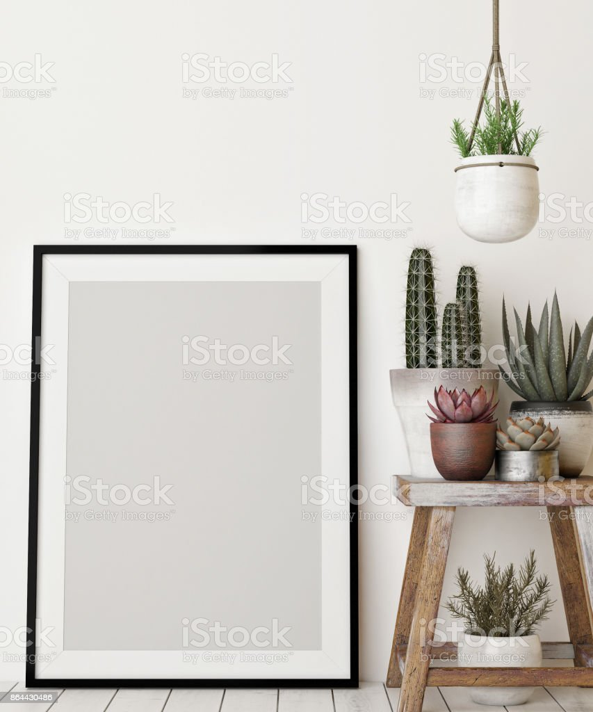 Mock up poster with decoration plant stock photo