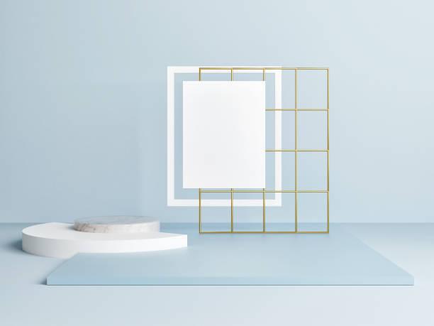 Mock up Plakat mit geometrischer Form, Siegerpodest – Foto