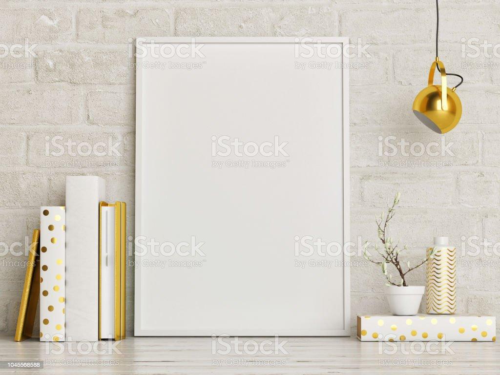 Mock-up Poster mit Golddekor und Bücher, – Foto
