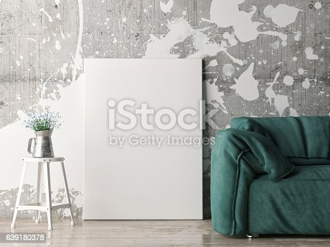 istock Mock up poster with green sofa 639180378