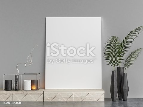 923497490istockphoto Mock up poster with hipster background, hipster decoration 1089138108