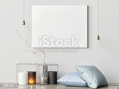 923497490istockphoto Mock up poster with hipster background, hipster decoration 1089138110