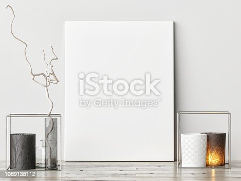 923497490istockphoto Mock up poster with hipster background, hipster decoration 1089138112