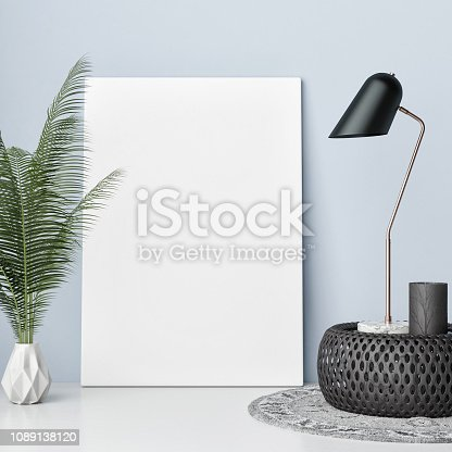 923497490istockphoto Mock up poster with hipster background, hipster decoration 1089138120
