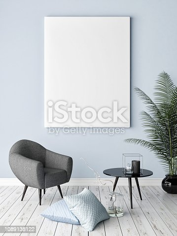 923497490istockphoto Mock up poster with hipster background, hipster decoration 1089138122