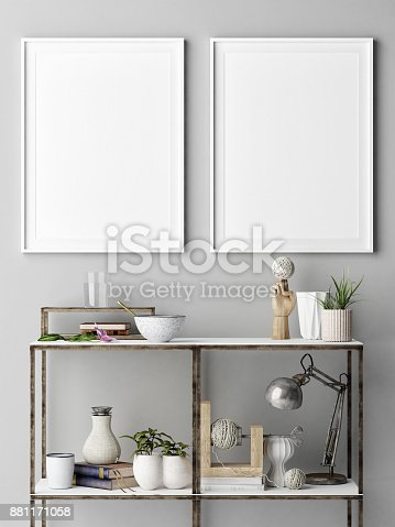 istock Mock up poster with metal shelf, concept interior design 881171058