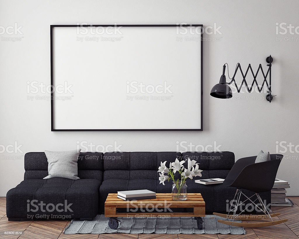 mock up poster with modern loft interior background stock photo
