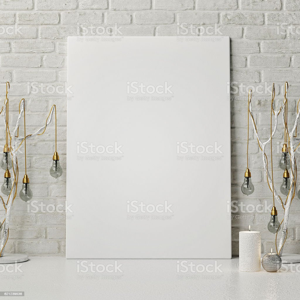 Mock up poster with new year lamps stock photo
