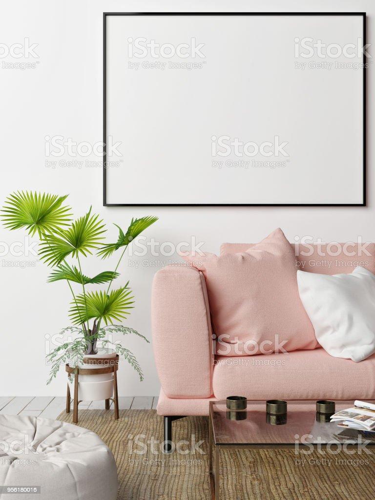 Mock-up Poster mit rosa Sofa, Hipster der lebendigen roomse – Foto