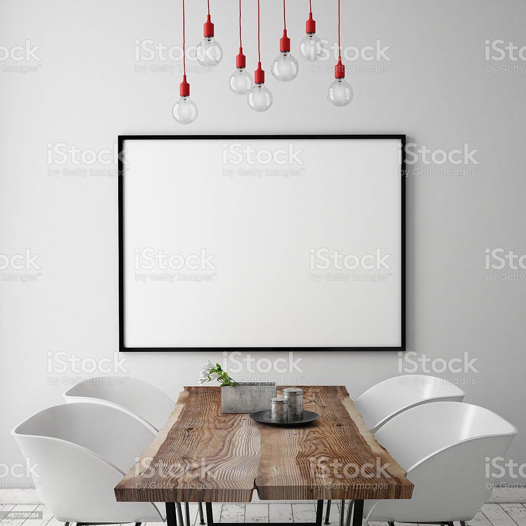 mock up in un poster sfondo con interni scandinava - foto stock